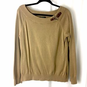 EUC Lauren Ralph Lauren Sweater Buckle XL Tan
